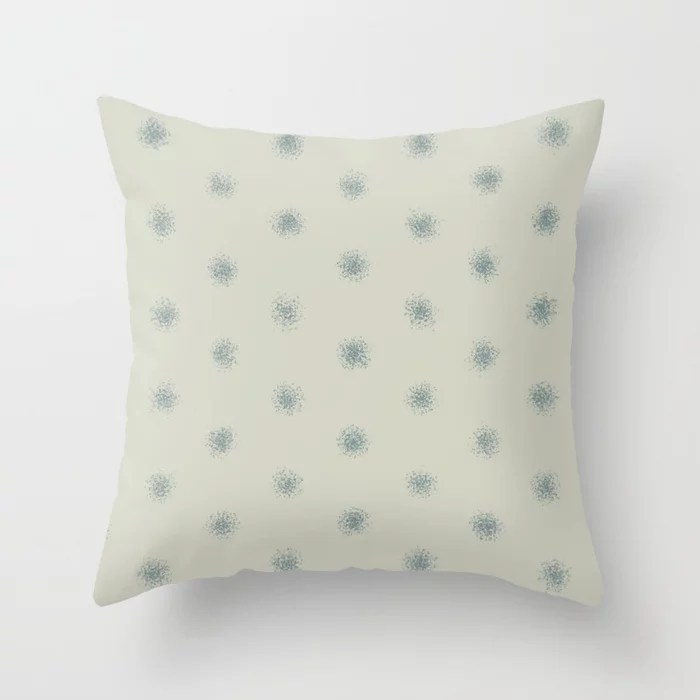 Muted Aqua and Beige Splatter Polka Dot Pattern 2021 Color of the Year Aegean Teal and Sweet Spring Throw Pillow