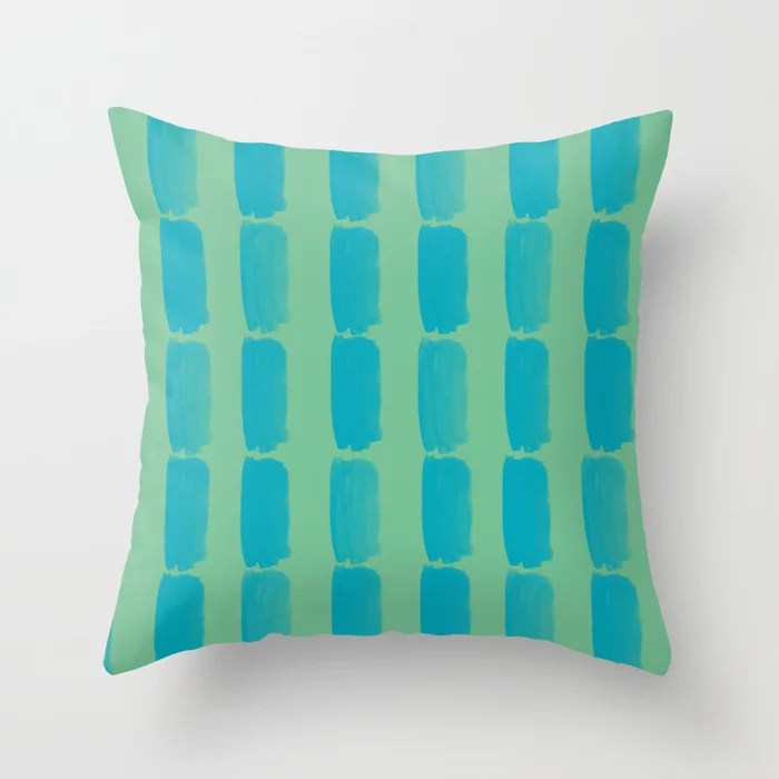 Aqua Blue and Green Grid Brushstroke Pattern 2021 Color of the Year AI Aqua and Quiet Wave Throw Pillow