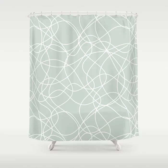 Mint Green and White Mosaic Pattern Behr 2022 Color of the Year Breezeway MQ3-21 Shower Curtain. 2022 color trend