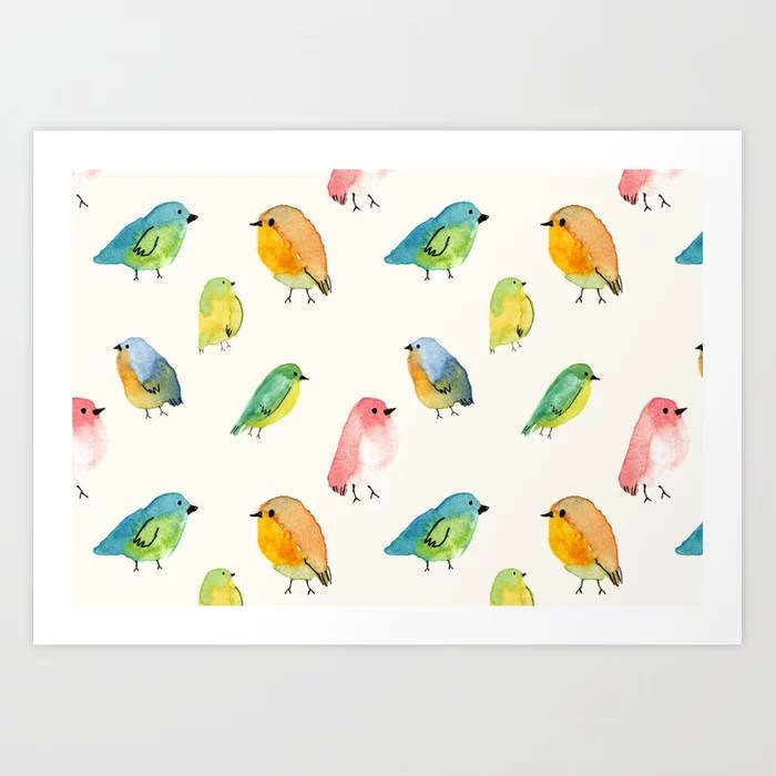 Sunday's Society6 | Watercolor birds pattern art print