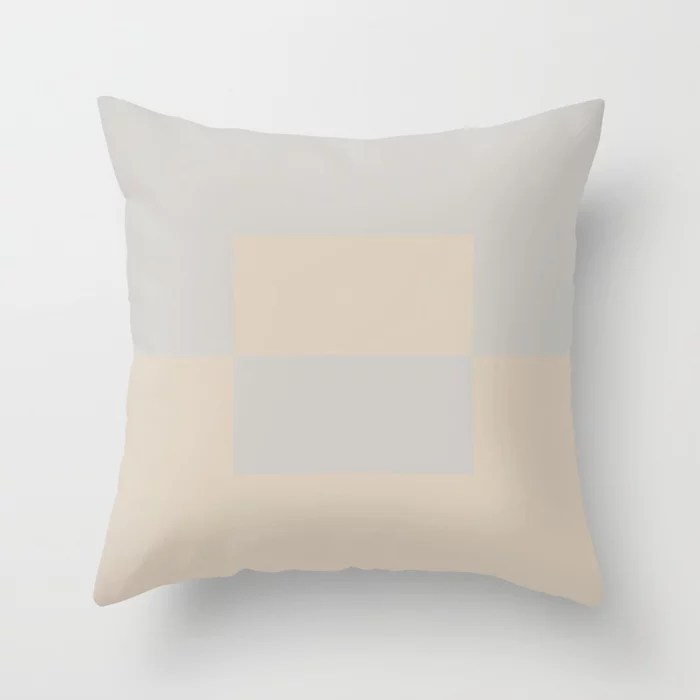 Light Beige Gray Minimal Square Design 2: Hues were inspired by and match (pair / coordinate with) 2021 Color of the Year Uptown Ecru and Swedish Grey Throw Pillow
