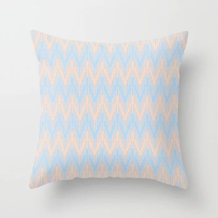 Baby Blue Peach Chevron Ripple Pattern 2021 Color of the Year Wild Blue Yonder Natural Tan Throw Pillow
