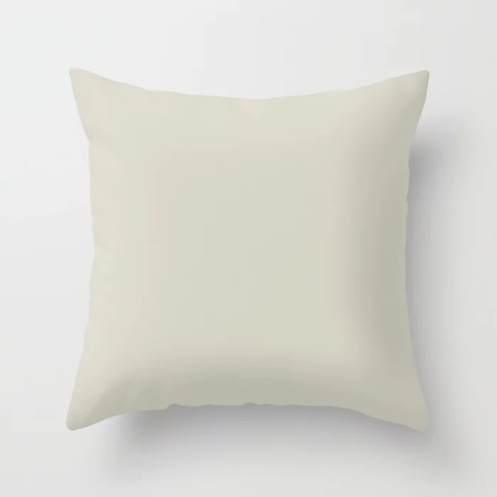 Soft Beige Gray Solid Color Pairs To Benjamin Moore Sweet Spring 1500 Throw Pillow