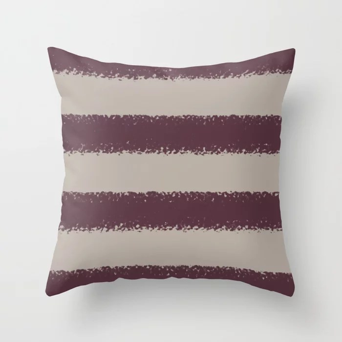 Deep Purple Taupe Gray Thick 4 Stripe Pattern 2021 Color of the Year Epoch and Fondue Throw Pillow