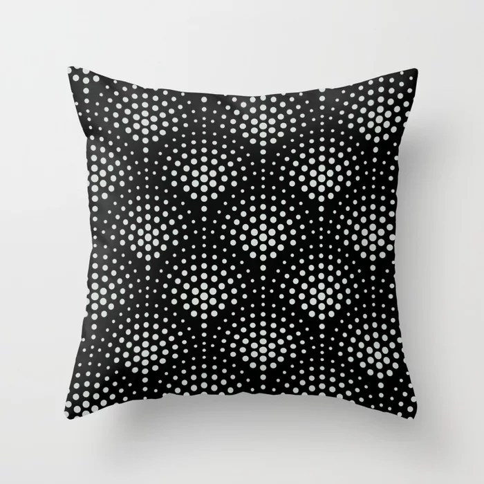 Mint Green and Black Polka Dot Scallop Pattern Behr 2022 Color of the Year Breezeway MQ3-21 Throw Pillow. 2022 color scheme, trending interior design hue.