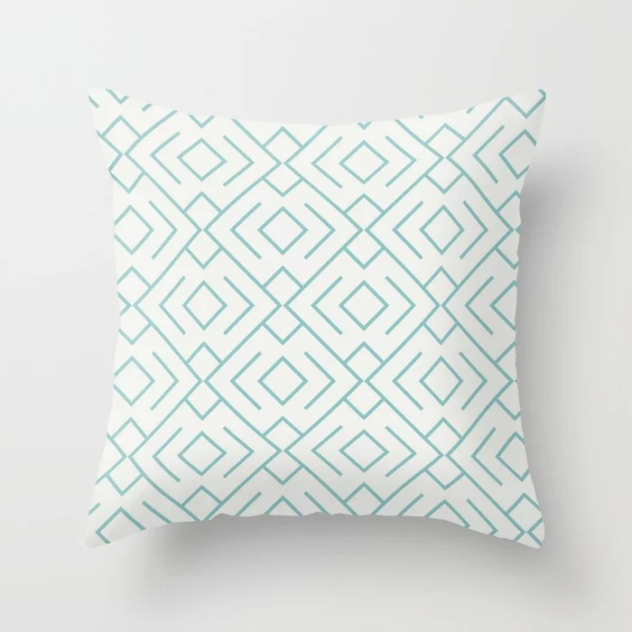 Aquamarine Geometric Mosaic Pattern 4 V2 2021 Color of the Year Aqua Fiesta and Delicate White Throw Pillow