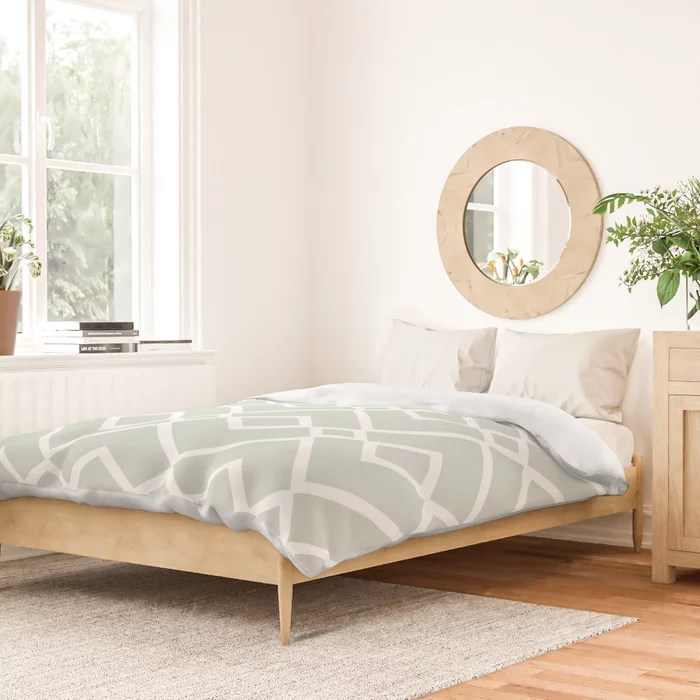 Mint Green and White Tessellation Pattern 23 Behr 2022 Color of the Year Breezeway MQ3-21 Duvet Cover. Color forecast 2022