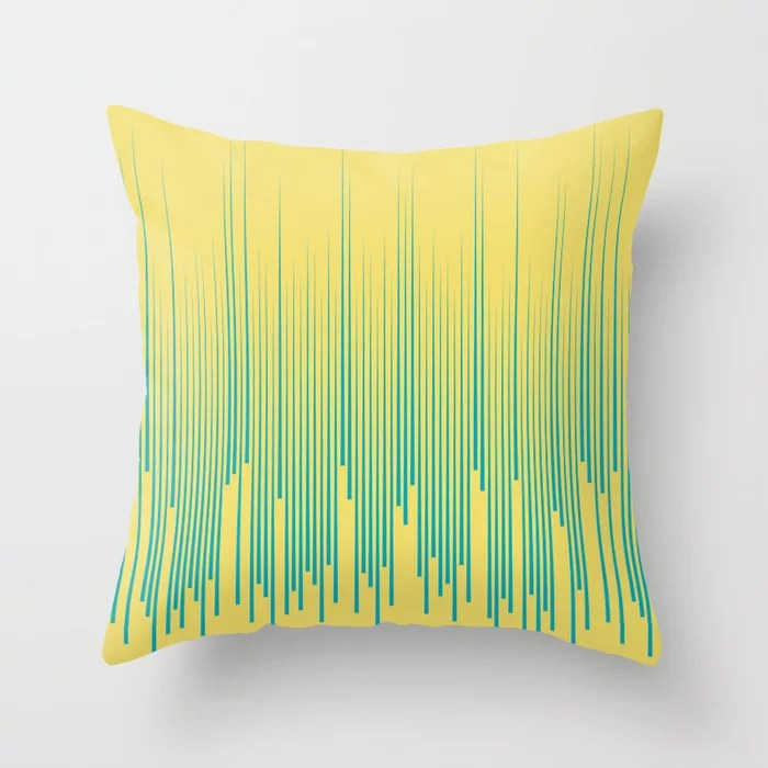 Aqua Blue and Yellow Frequency Line Art Pattern 2021 Color of the Year AI Aqua and Lemon Sherbet Throw Pillow
