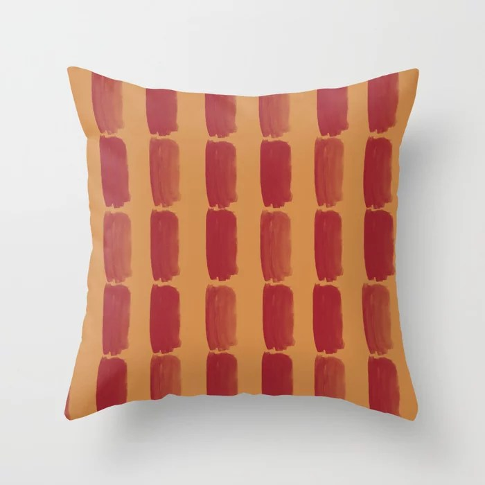 Red and Orange-Brown Grid Brushstroke Pattern 2021 Color of the Year Satin Paprika & Warm Caramel Throw Pillow