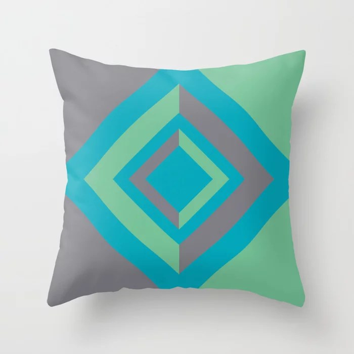 Aqua Gray Green Diamond Minimal Illustration 2021 Color of the Year AI Aqua and Accent Shades Throw Pillow