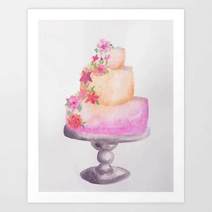 Sunday's Society6 | Birthday cake with flowers, art print