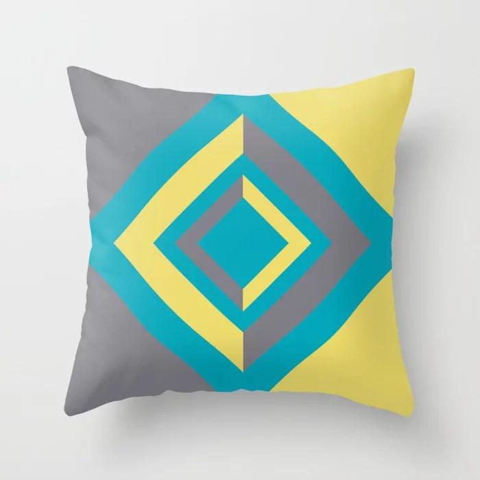 Aqua Gray Yellow Diamond Minimal Illustration 2021 Color of the Year AI Aqua and Accent Shades Throw Pillow