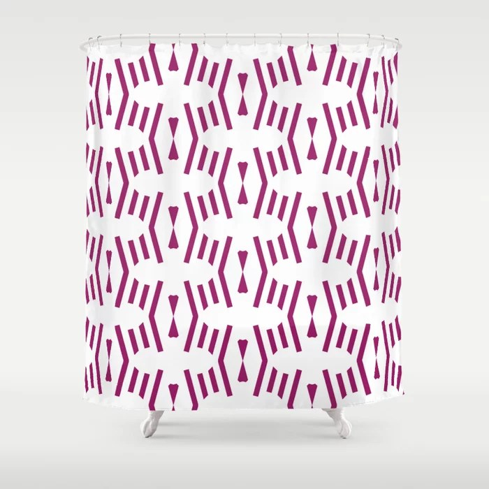 Magenta and White Vertical Stripe Chevron Pattern - Colour of the Year 2022 Orchid Flower 150-38-31 Shower Curtain - 2022 colour trends interior decorating fuchsia - purple - pink