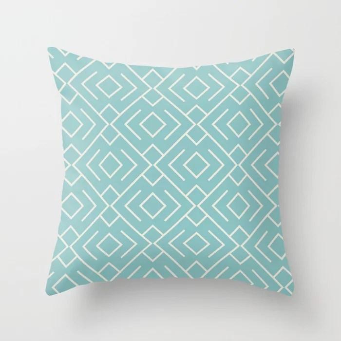 Aquamarine Cream Geometric Mosaic Pattern 4 2021 Color of the Year Aqua Fiesta and Horseradish Throw Pillow