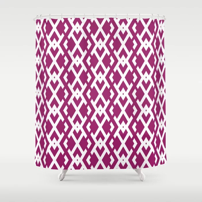 Magenta and White Diamond Vertical Zig Zag Pattern - Colour of the Year 2022 Orchid Flower 150-38-31 Shower Curtain - 2022 colour trends interior decorating fuchsia - purple - pink