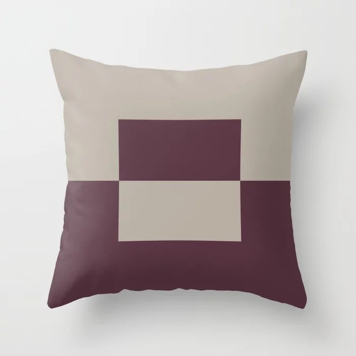 Deep Purple Gray Taupe Minimal Square Design 2 Throw Pillows inspired by and pairs to (matches / coordinates with) Graham and Brown 2021 Color of the Year Epoch and Fondue