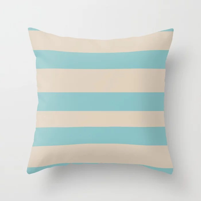 Pastel Teal and Beige Horizontal Stripe Pattern 2021 Color of the Year Aqua Fiesta and Sourdough Throw Pillow