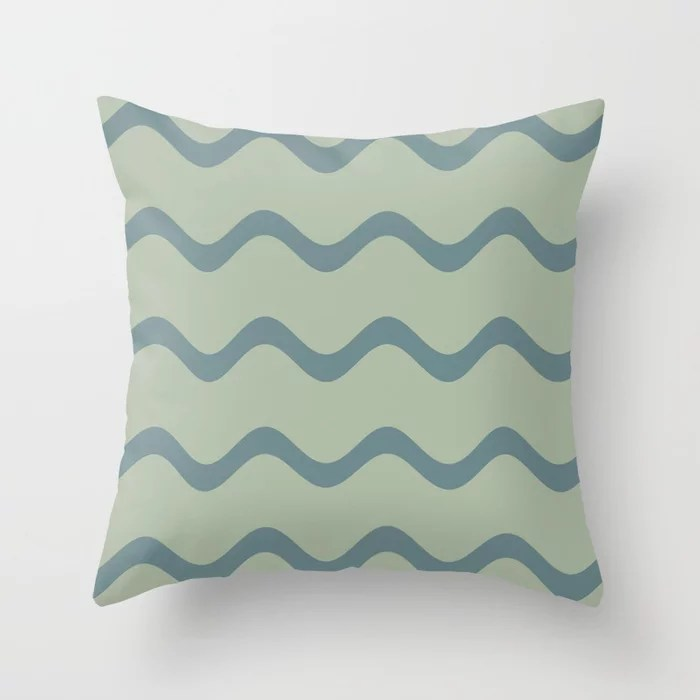 Muted Aqua and Green Rippled Stripe Pattern 2021 Color of the Year Aegean Teal & Salisbury Green Throw Pillow