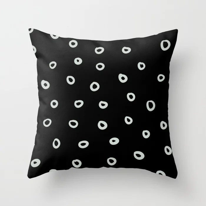 Mint Green and Black Simple Hoop Circle Pattern Behr 2022 Color of the Year Breezeway MQ3-21 Throw Pillow. 2022 color scheme, trending interior design hue.
