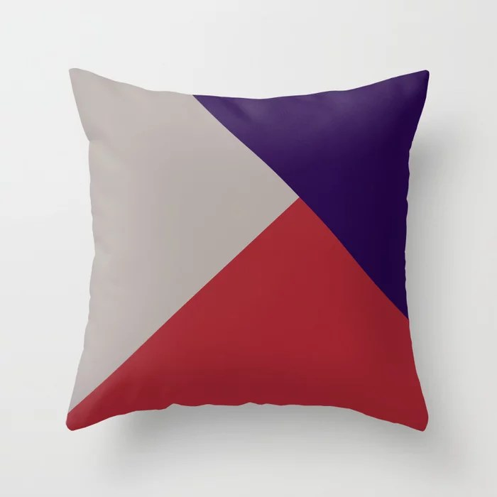 Red Purple Gray Solid Color Abstract Pattern 2021 Color of the Year Satin Paprika and Accent Shades Throw Pillow