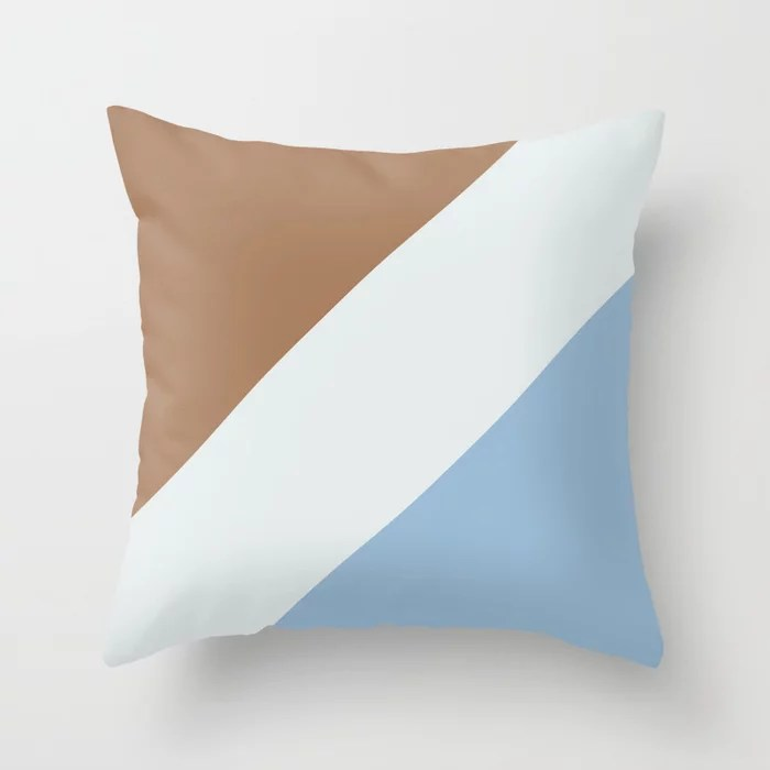 Pastel Blue White Brown Diagonal Stripe Pattern Throw Pillows inspired by and pairs to (matches / coordinates with) Dutch Boy 2021 Color of the Year Earth's Harmony & Accent Hues