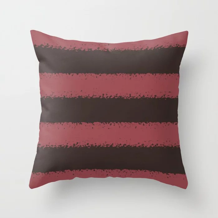 Red and Dark Brown Minimal Stripe Pattern Pairs HGTV 2021 Color of the Year Passionate Throw Pillow