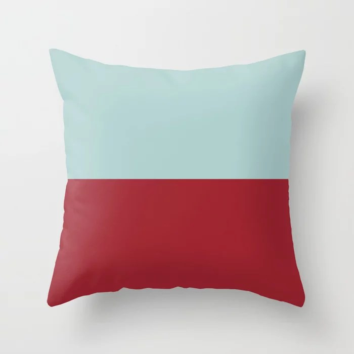 Red and Pastel Blue Minimal Line Pattern 2021 Color of the Year Satin Paprika Serenity Blue Throw Pillow