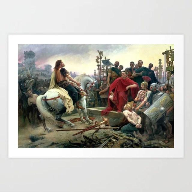 Vercingetorix Throws Down His Arms At The Feet Of Julius Caesar Art Print