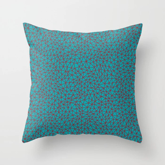 Red and Aqua Triangle Shape Pattern Pairs 2021 Color of the Year Satin Paprika and Vintage Teal Throw Pillow