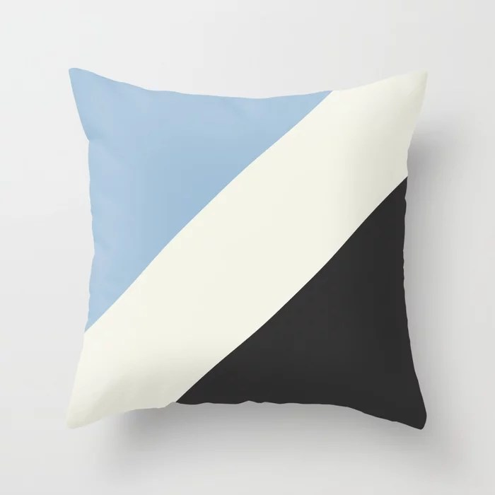 Pastel Blue Off White Black Stripe Pattern Throw Pillows inspired by and pairs to (matches / coordinates with) Dutch Boy 2021 Color of the Year Earth's Harmony & Accent Hues