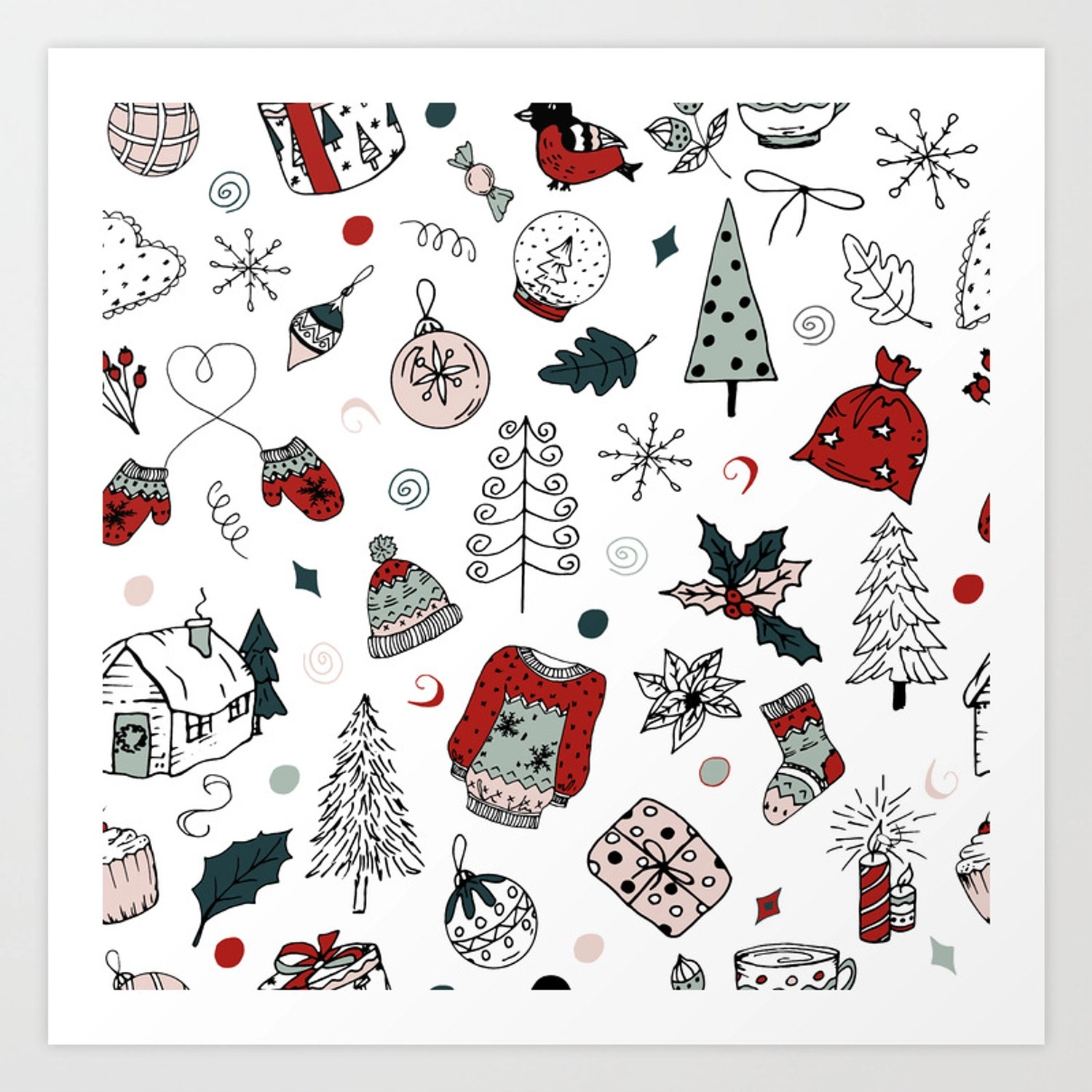 Christmas Holiday Pattern Winter Hand Drawing Background Art Print By Alexcrafts Society6