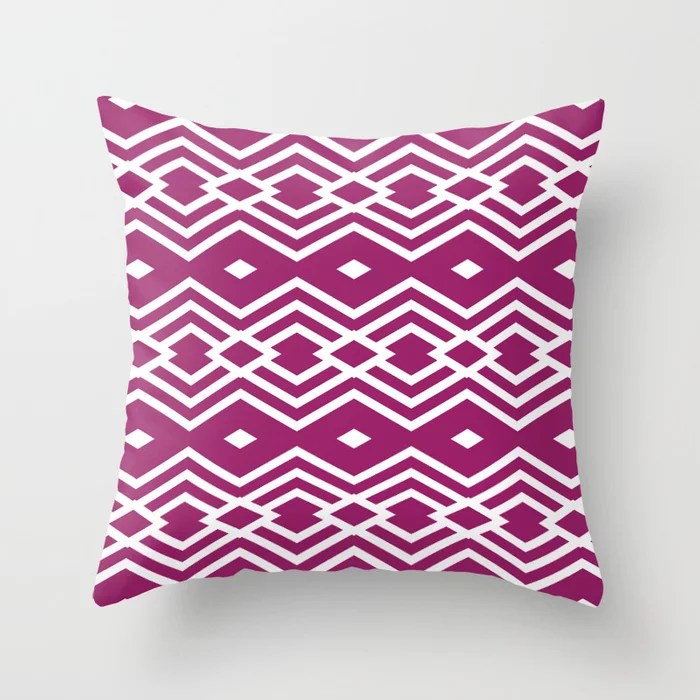 Magenta and White Stripe Diamond Pattern - Colour of the Year 2022 Orchid Flower 150-38-31 Throw Pillow