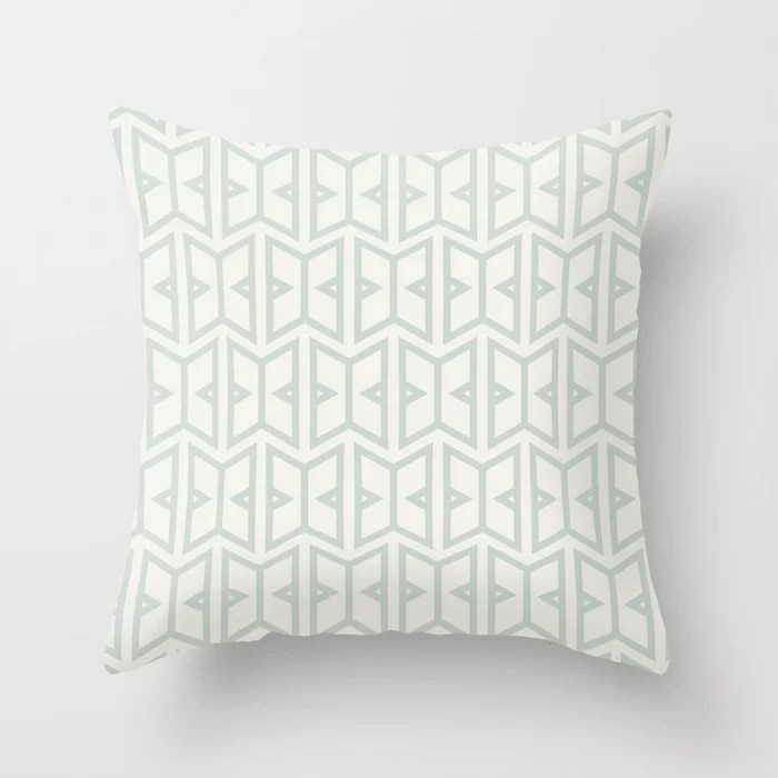 Mint Green and Cream Art Deco Shape Pattern Behr 2022 Color of the Year Breezeway MQ3-21 Throw Pillow. 2022 color scheme, trending interior design hue.