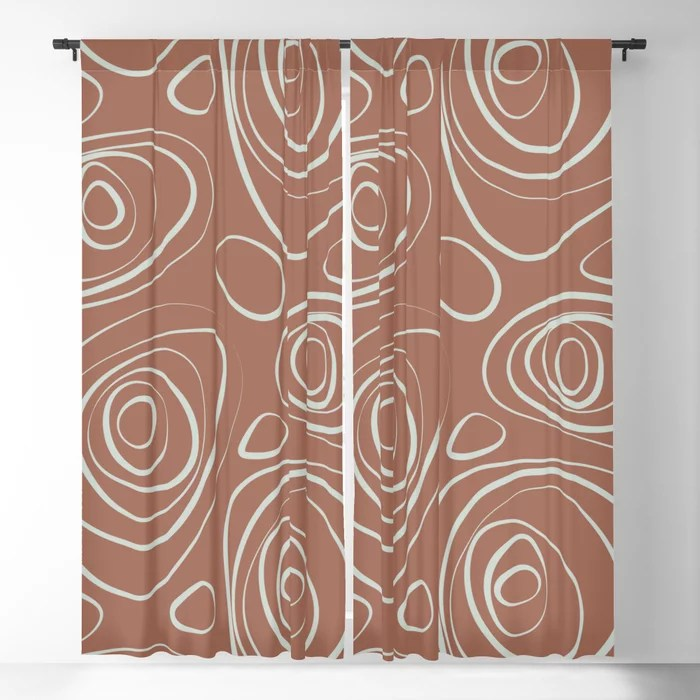 Mint Green and Terracotta Retro Circle Pattern Behr 2022 Color of the Year Breezeway MQ3-21 Blackout Curtain. Colors popular 2022