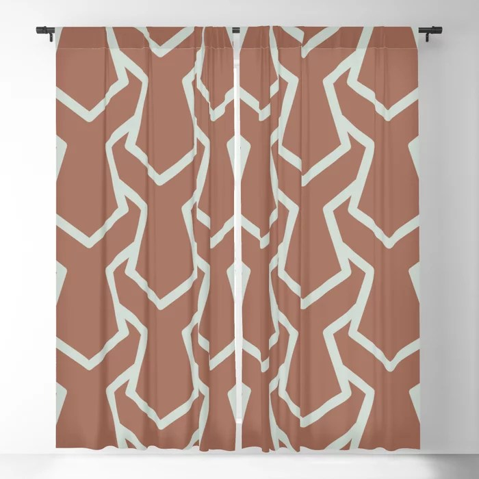 Mint Green and Terracotta Tessellation Pattern 11 Behr 2022 Color of the Year Breezeway MQ3-21 Blackout Curtain. Spring/Summer 2022 color forecast