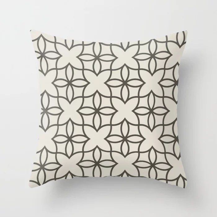 Brown and Cream Line Art Pattern 4 Flower 2021 Color of the Year Urbane Bronze and Shoji White Throw Pillow