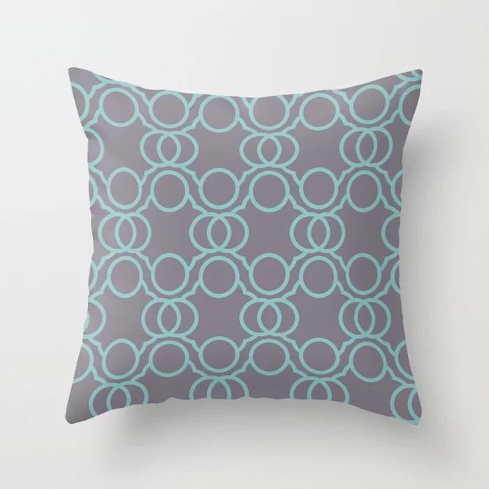 Aquamarine Purple Geometric Circle Pattern 2021 Color of the Year Aqua Fiesta and Magic Dust Throw Pillow