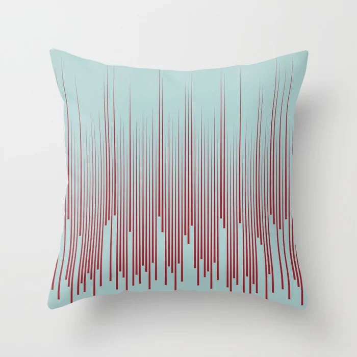 Red and Pastel Blue Minimal Line Art Pattern 2021 Color of the Year Satin Paprika Serenity Blue Throw Pillow