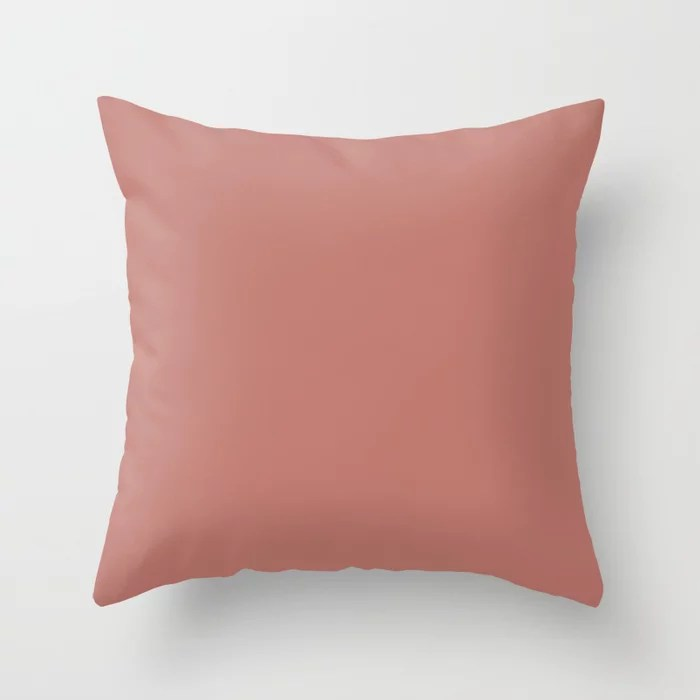 Deep Rose Pink Solid Color Pairs with Sherwin Williams Heart 2020 Forecast Color Coral Clay SW 9005 Throw Pillow