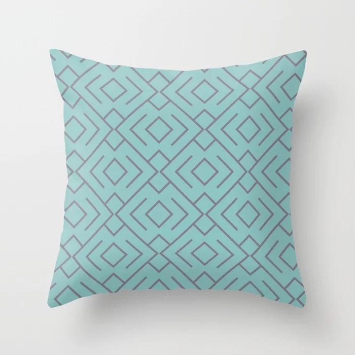 Aquamarine and Purple Geometric Mosaic Pattern 4 2021 Color of the Year Aqua Fiesta and Magic Dust Throw Pillow