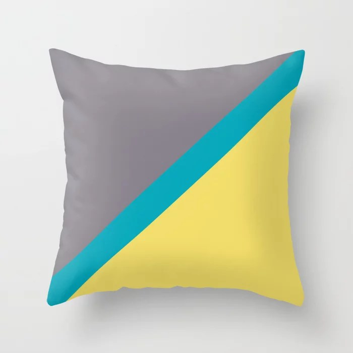 Blue-Green Yellow Gray Diagonal Stripe Pattern 2021 Color of the Year AI Aqua 098-59-30 Throw Pillow