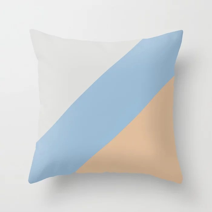 Pastel Blue Grey Peach Diagonal Stripe Pattern Throw Pillows inspired by and pairs to (matches / coordinates with) Dutch Boy 2021 Color of the Year Earth's Harmony and Accent Hue Throw Pillow