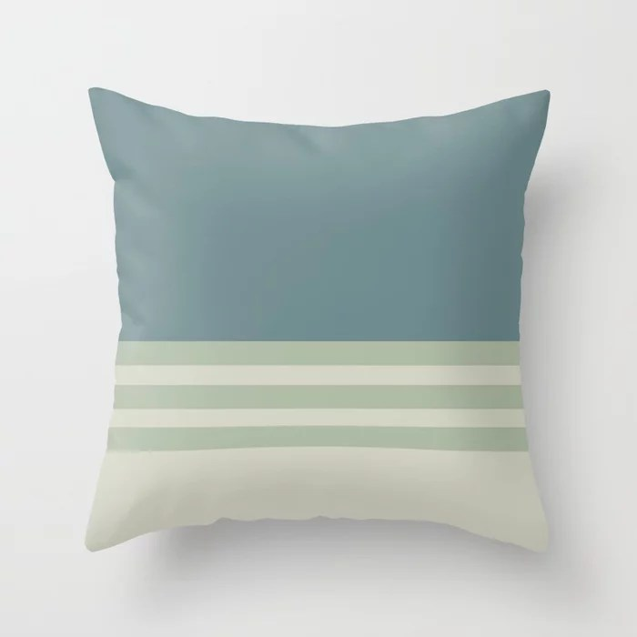 Blue-Green Beige Green Horizontal Stripe Pattern 2021 Color of the Year Aegean Teal and Accent Shade Throw Pillow
