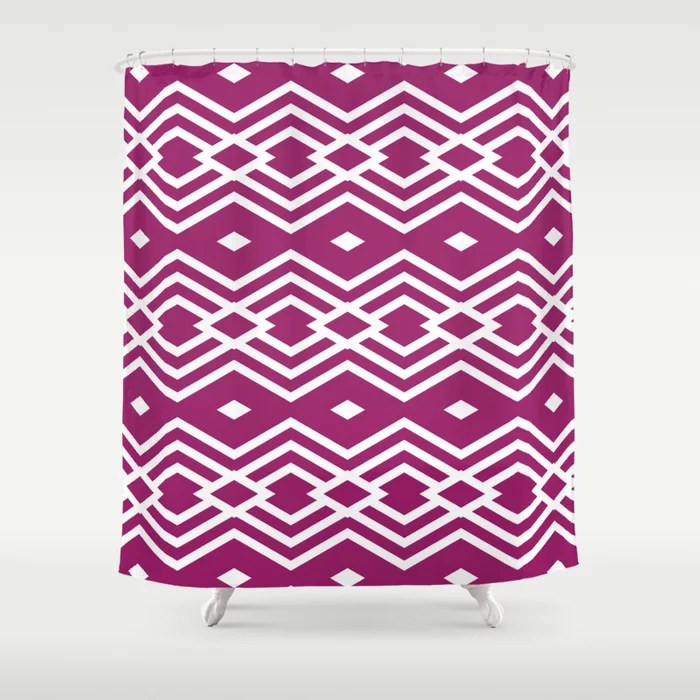 Magenta and White Stripe Diamond Pattern - Colour of the Year 2022 Orchid Flower 150-38-31 Shower Curtain - 2022 colour trends interior decorating fuchsia - purple - pink