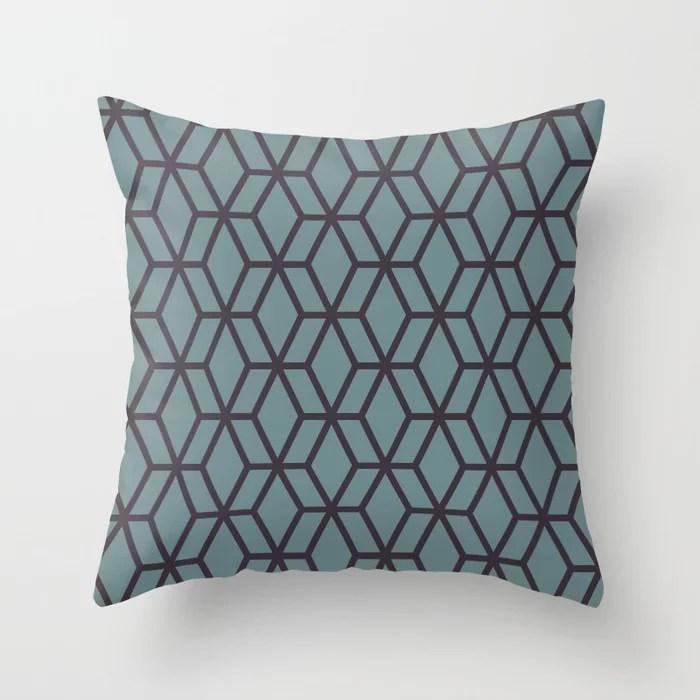 Soft Aqua Blue Purple Tessellation Line Pattern 16 2021 Color of the Year Aegean Teal Tulsa Twilight Throw Pillow