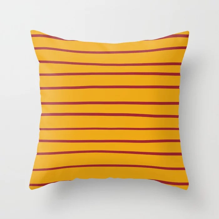 Red Orange Thin Stripe Pattern 2021 Color of the Year Satin Paprika and Satin Harvest Peach Throw Pillow
