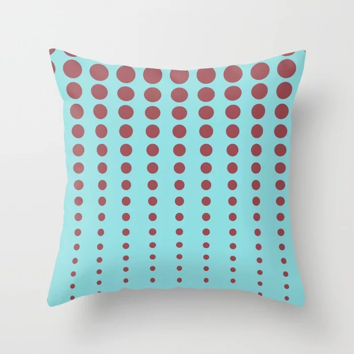 Red Pastel Blue Reduced Polka Dot Pattern 2021 Color of the Year Passionate and Breezy Aqua Throw Pillow