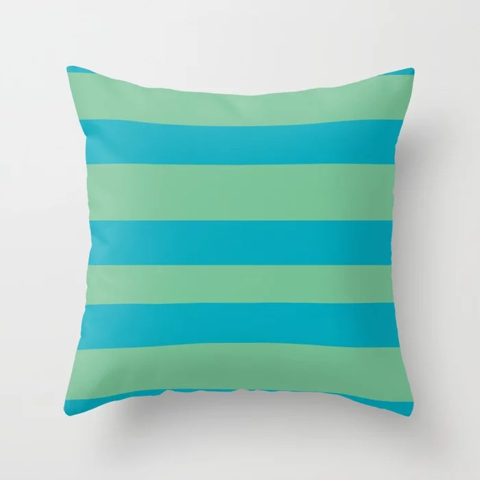 Aqua Blue and Green Wide Stripe Pattern 2021 Color of the Year AI Aqua and Quiet Wave Throw Pillow