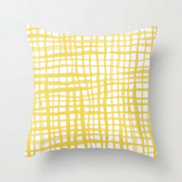 Watercolor doodle gingham - yellow Throw Pillow by: Angela Minca