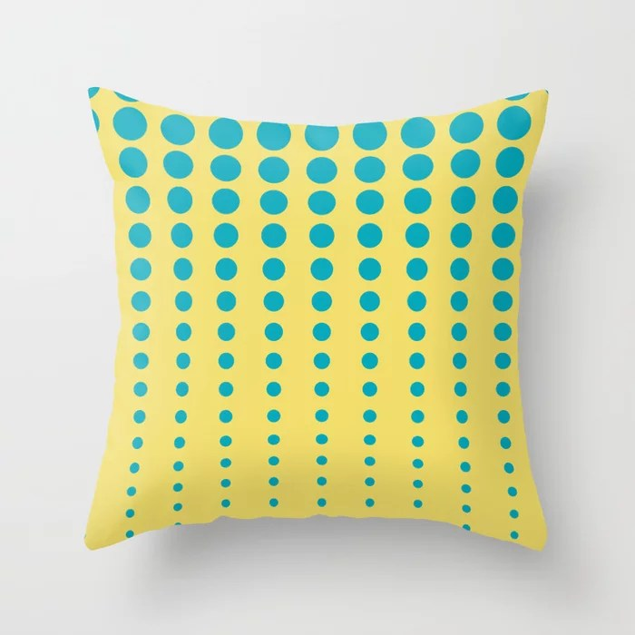 Aqua Blue and Yellow Reduced Polka Dot Pattern 2021 Color of the Year AI Aqua and Lemon Sherbet Throw Pillow